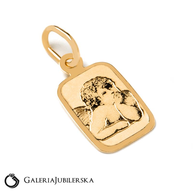 078583fc8927fb Medalik złoty z Aniołkiem prezent na chrzest roczek 14kr ...